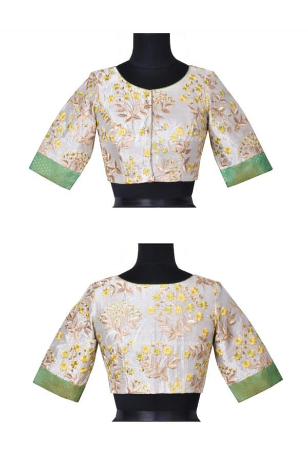 Beige and green embroidered tussar silk blouse-0