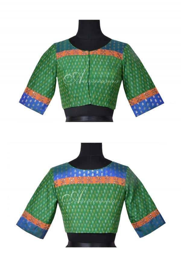 Green blue ikat silk blouse-0