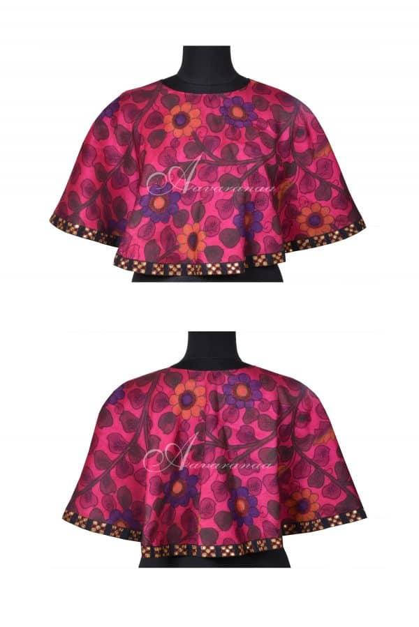Pink kalamkari silk cape-0