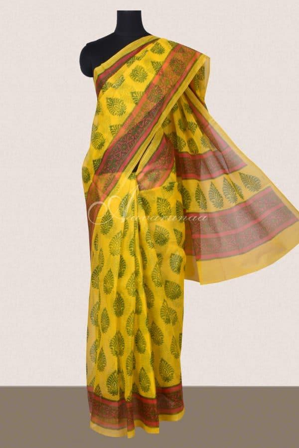 Yellow and pink block printed supernet saree-0