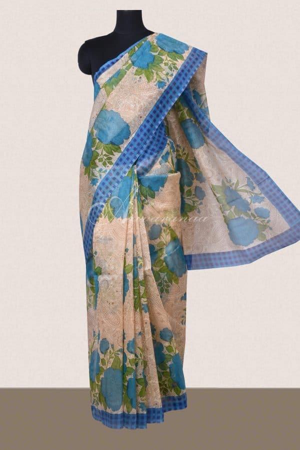 Beige and blue floral printed supernet saree -0