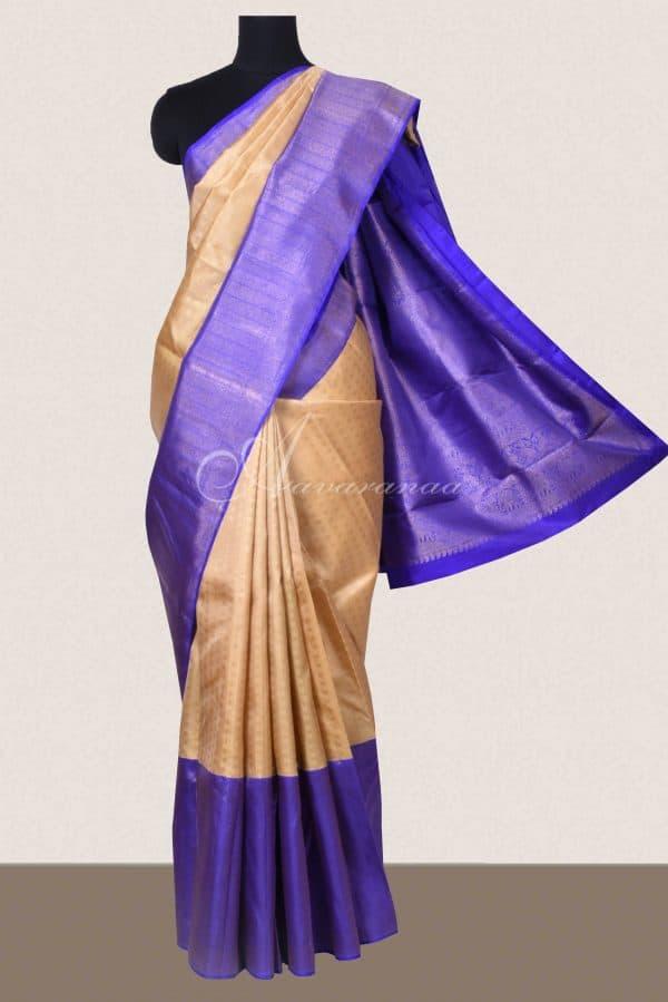 Cream kanchi silk saree with violet border-0