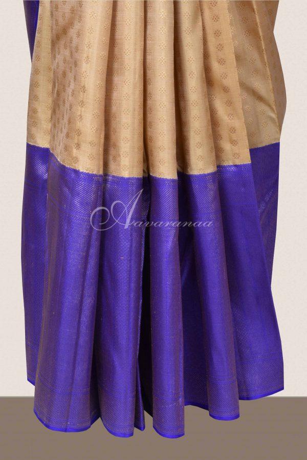 Cream kanchi silk saree with violet border-16134