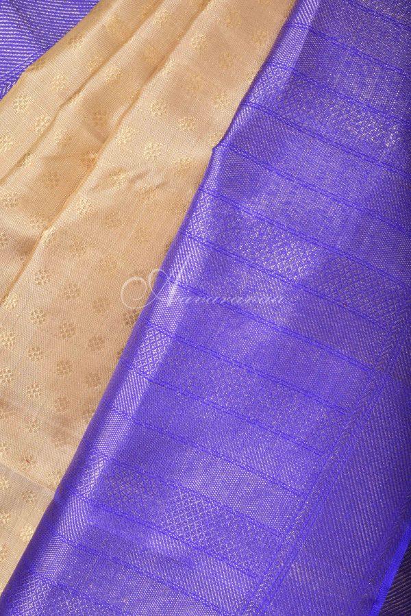 Cream kanchi silk saree with violet border-16136