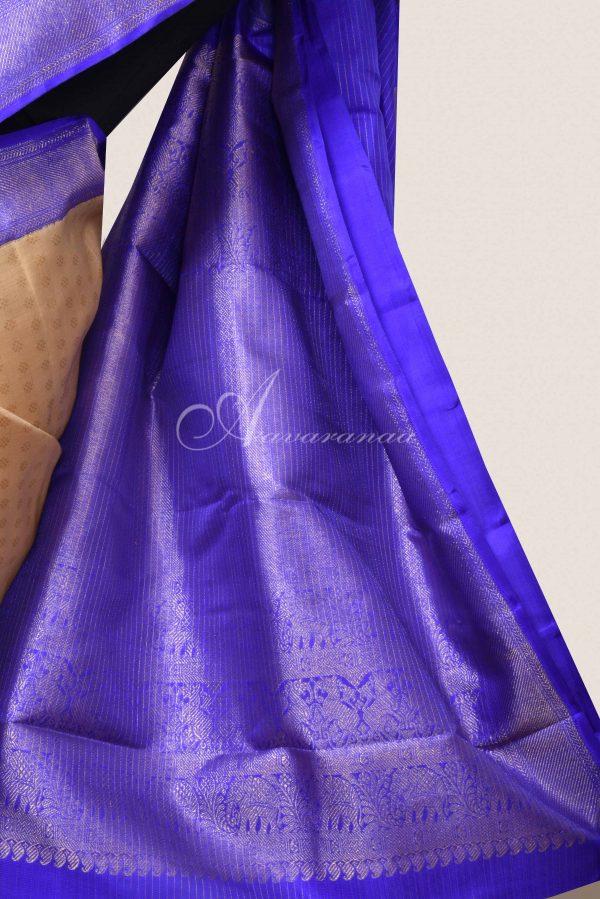 Cream kanchi silk saree with violet border-16138