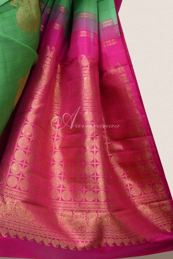 Green kanchi silk saree with peacock motifs-16145