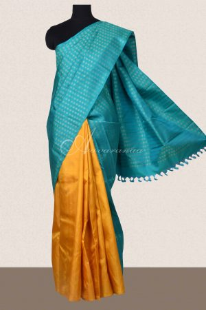 Teal and yellow half and half kanchi silk saree-0