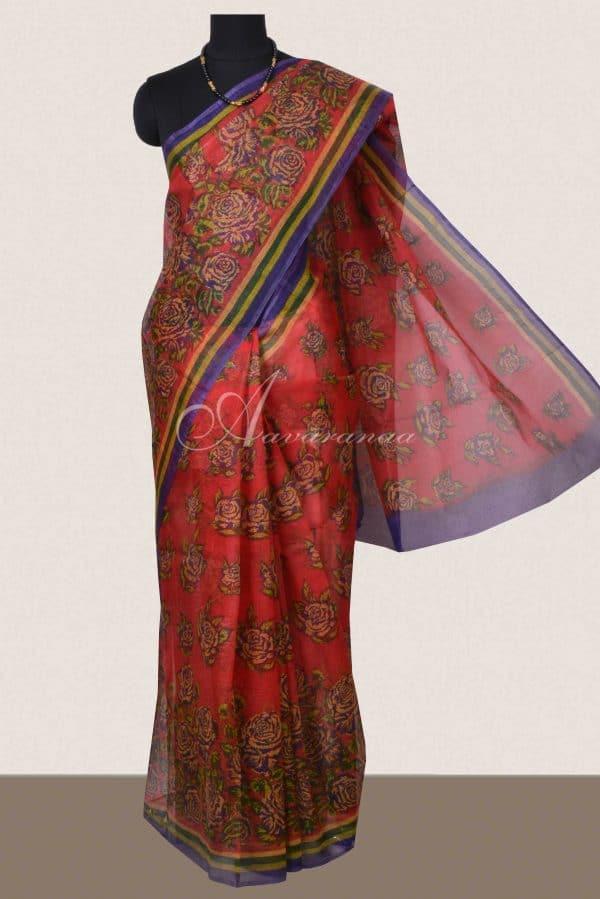 Red floral printed supernet saree-0