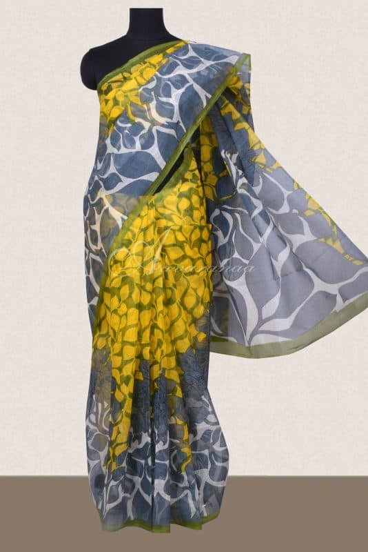 Yellow and grey printed supernet saree -0