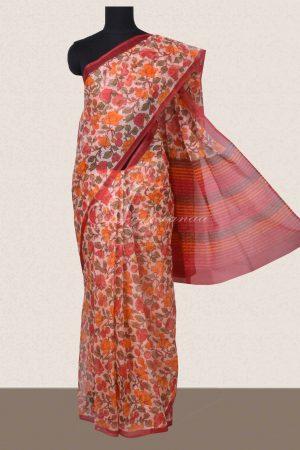 Beige floral printed supernet saree-0