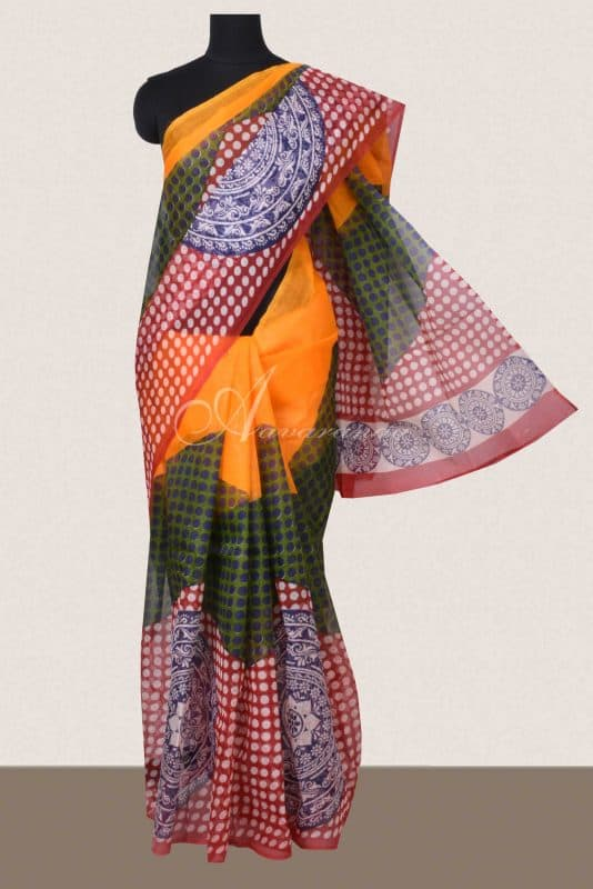 Multi color absract print supernet sarees -0
