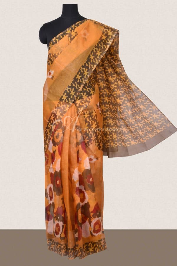 Ochre and brown floral printed supernet saree-0