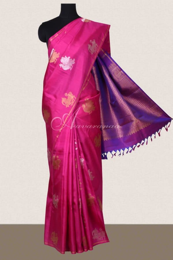 Pink and purple kanchi silk saree with gold silver zari-0