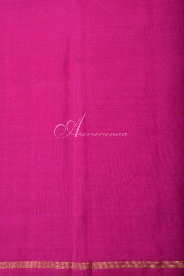 Pink and purple kanchi silk saree with gold silver zari-16220