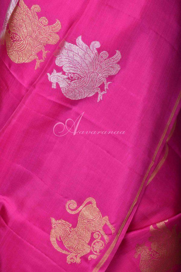 Pink and purple kanchi silk saree with gold silver zari-16221