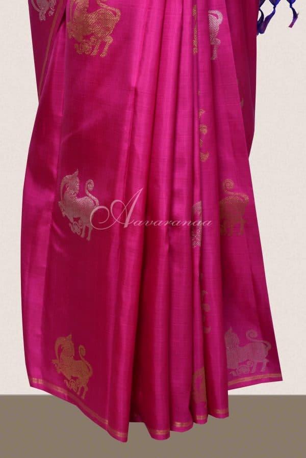 Pink and purple kanchi silk saree with gold silver zari-16217