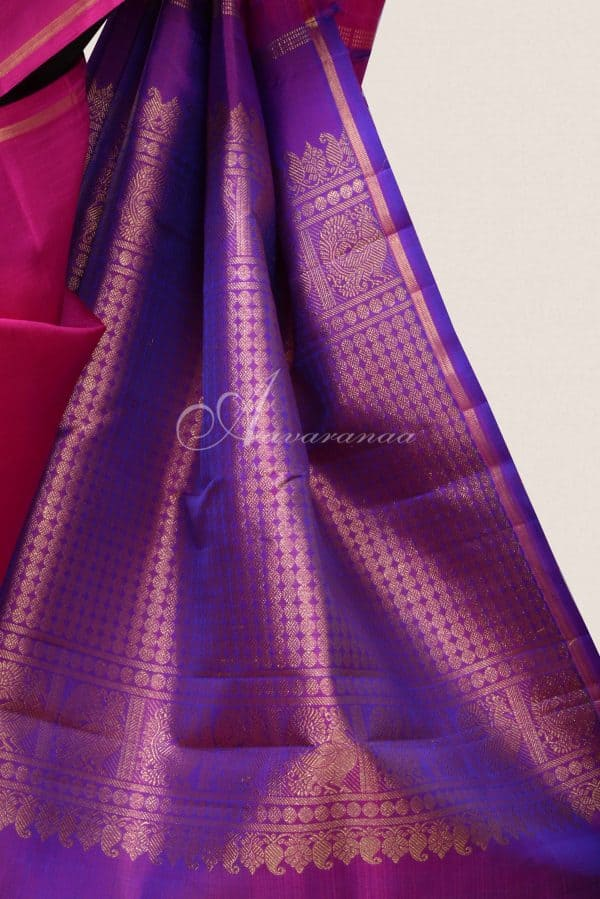 Pink and purple kanchi silk saree with gold silver zari-16218
