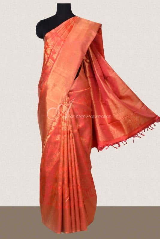 Bright Orange kancheepuram silk saree-0
