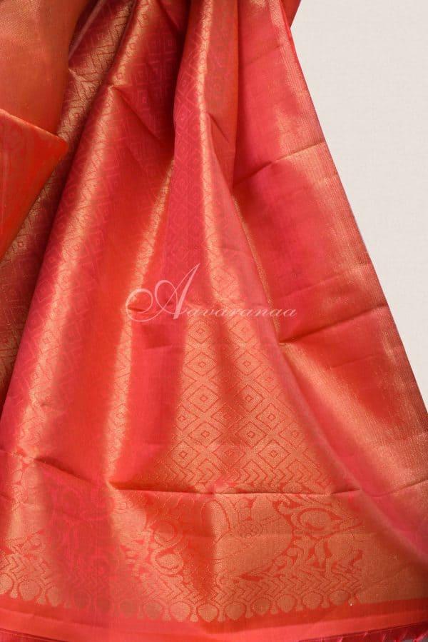 Bright Orange kancheepuram silk saree-16323