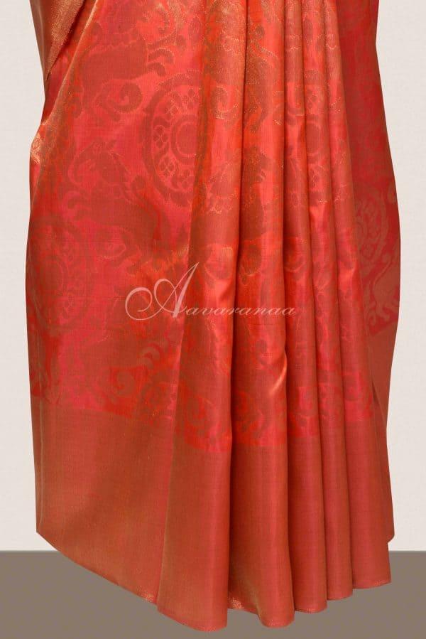 Bright Orange kancheepuram silk saree-16326