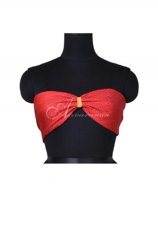 Red ikat silk blouse material-0