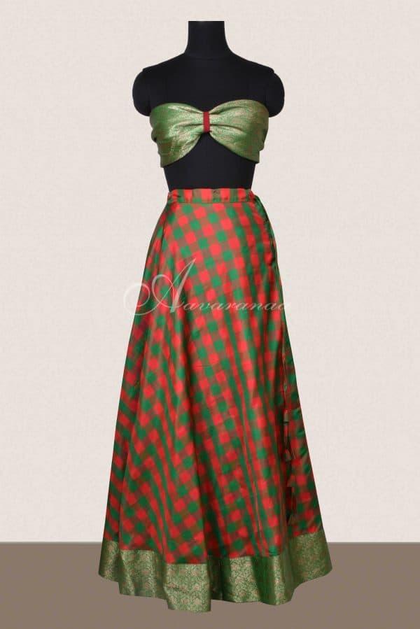 Red and green checks silk skirt-0