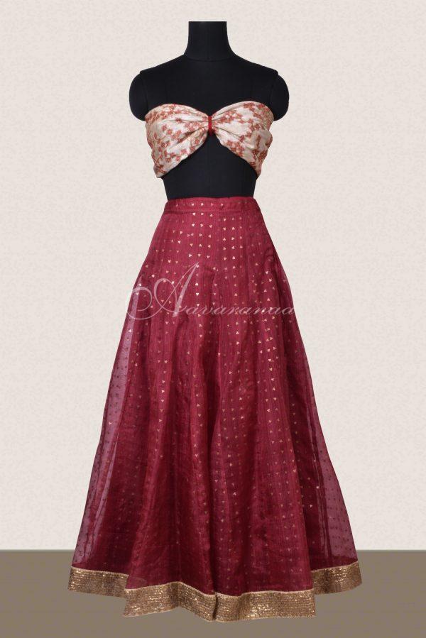 Wine color organza woven skirt-0
