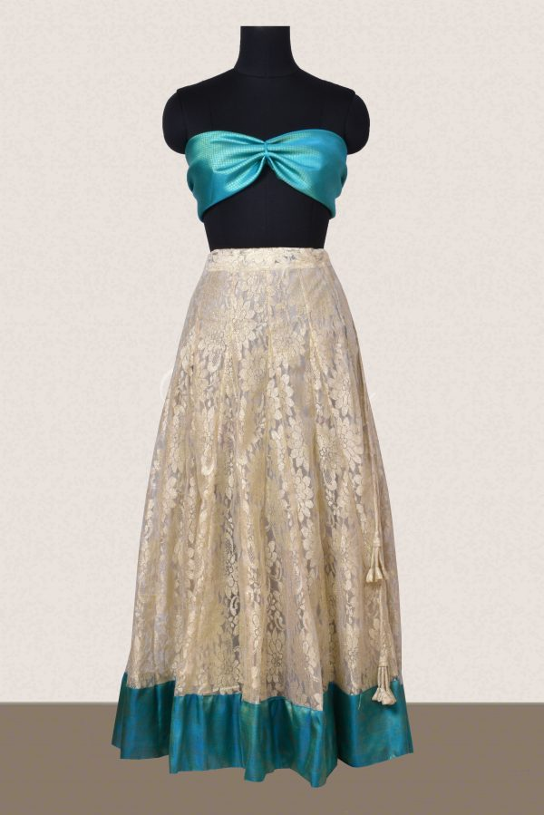Off white lace skirt with blue silk border-0