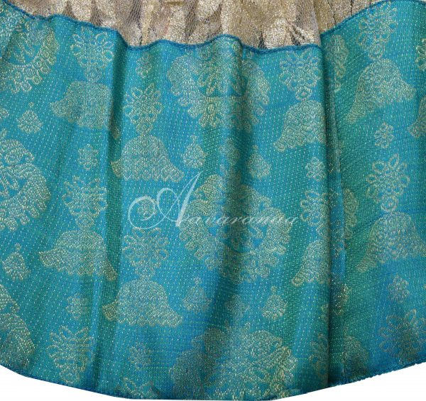 Off white lace skirt with blue silk border-16291