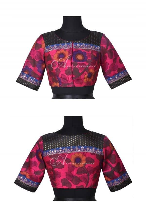 Pink kalamkari silk blouse-0