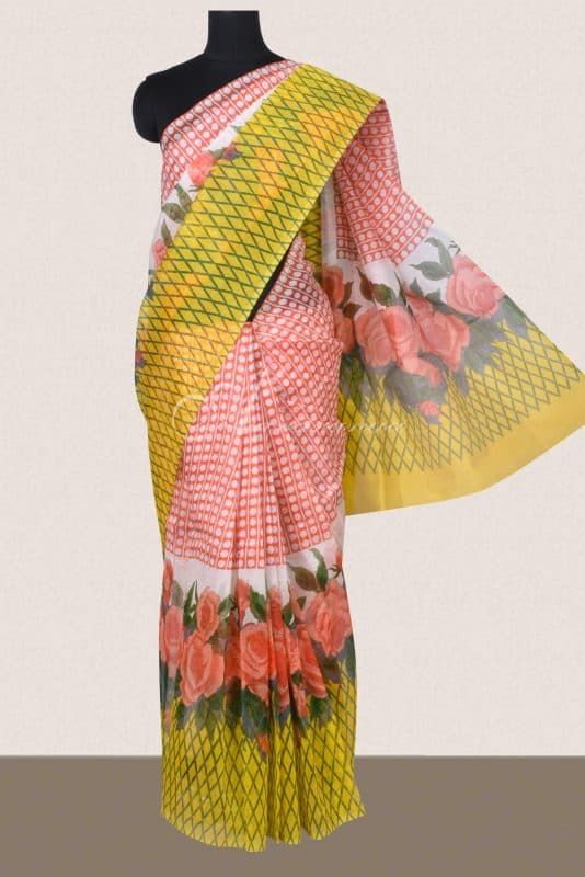 Orange and yellow geometrical printed supernet sarees -0