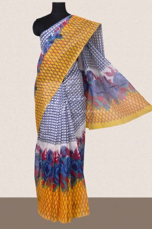 Blue and yellow geometrical printed supernet sarees -0