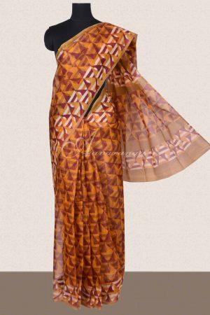 Mustard geometrical printed supernet sarees -0