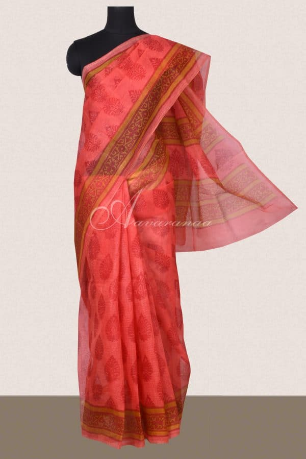 Peach block printed supernet saree-0