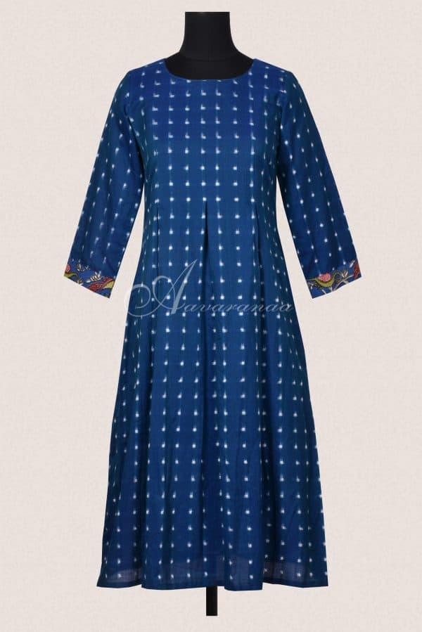 Blue ikat cotton dress-0