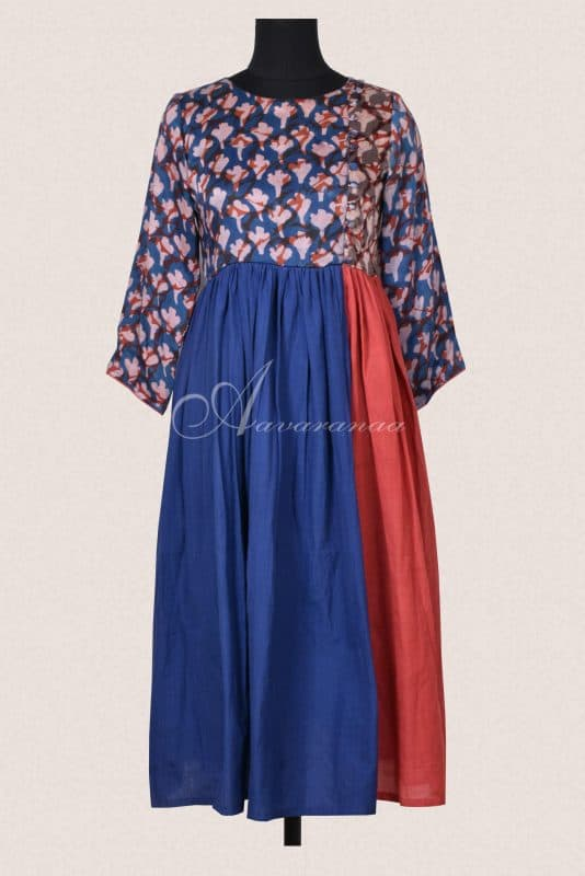Blue and rust cotton dress-0