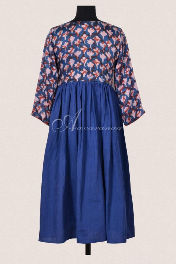 Blue and rust cotton dress-16433