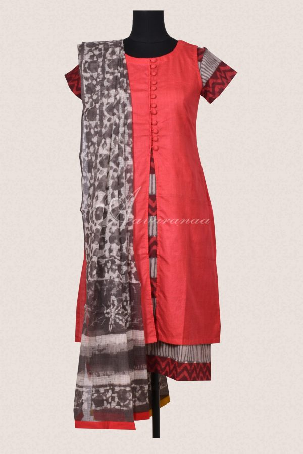 Red and grey tussar cotton set-0