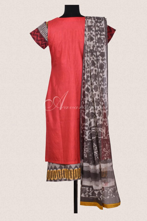 Red and grey tussar cotton set-16437