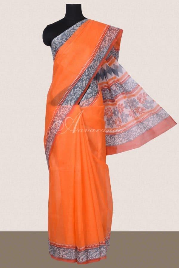 Orange and grey printed supernet saree-0