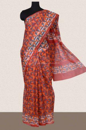 Orange geometrical printed supernet sarees -0