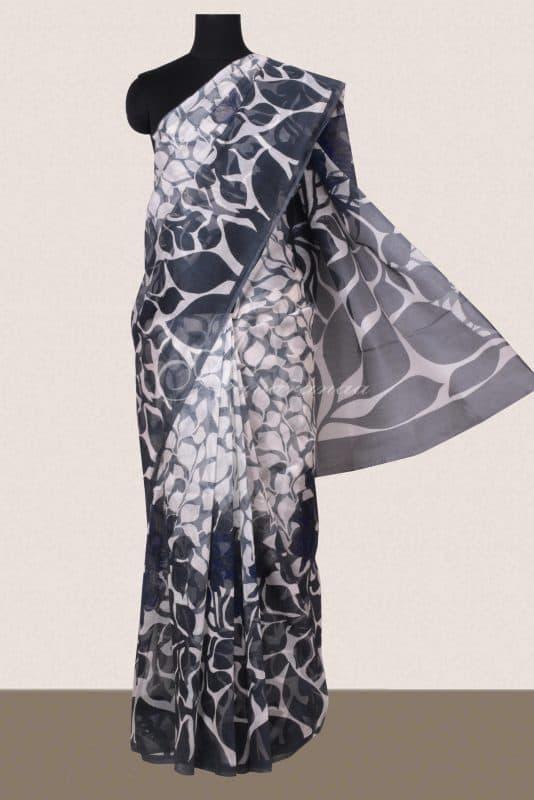 Dark grey and white printed supernet saree -0
