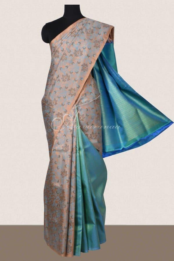 Beige teal printed kancheepuram silk saree-0