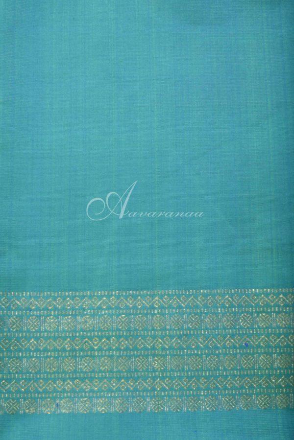 Beige teal printed kancheepuram silk saree-16502