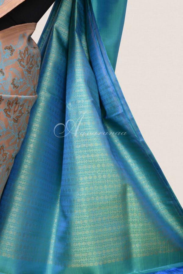 Beige teal printed kancheepuram silk saree-16504