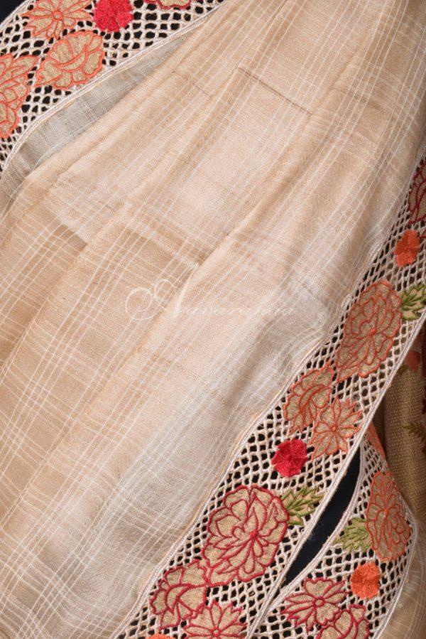 Beige tussar saree with cutwork border-16497