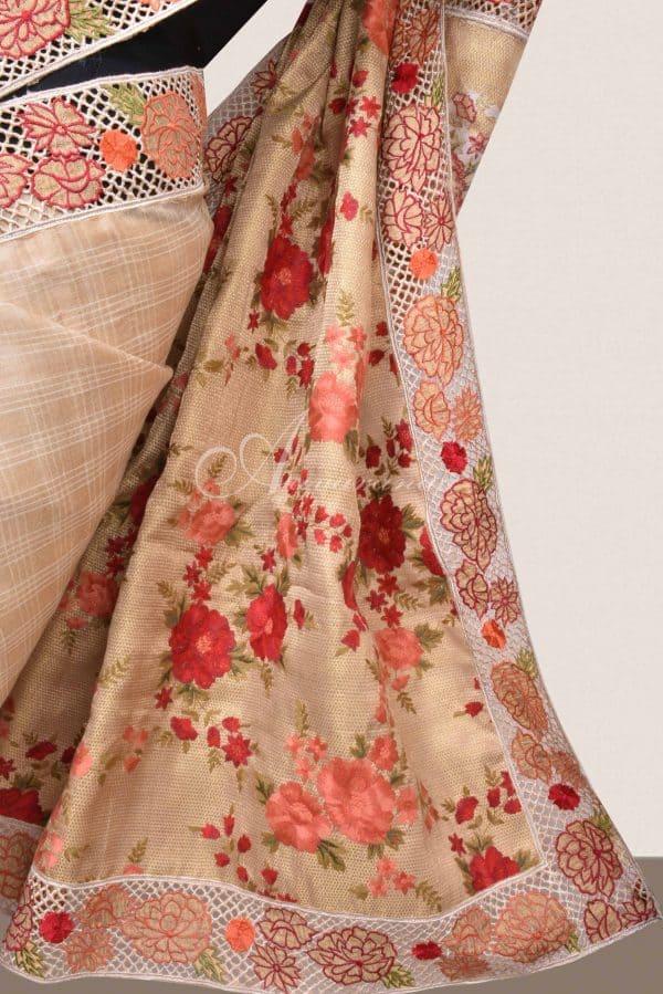 Beige tussar saree with cutwork border-16498