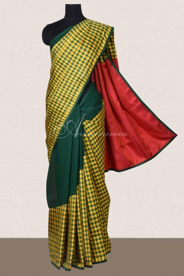 Bottle green chiffon checks kanchi silk fusion saree-16524