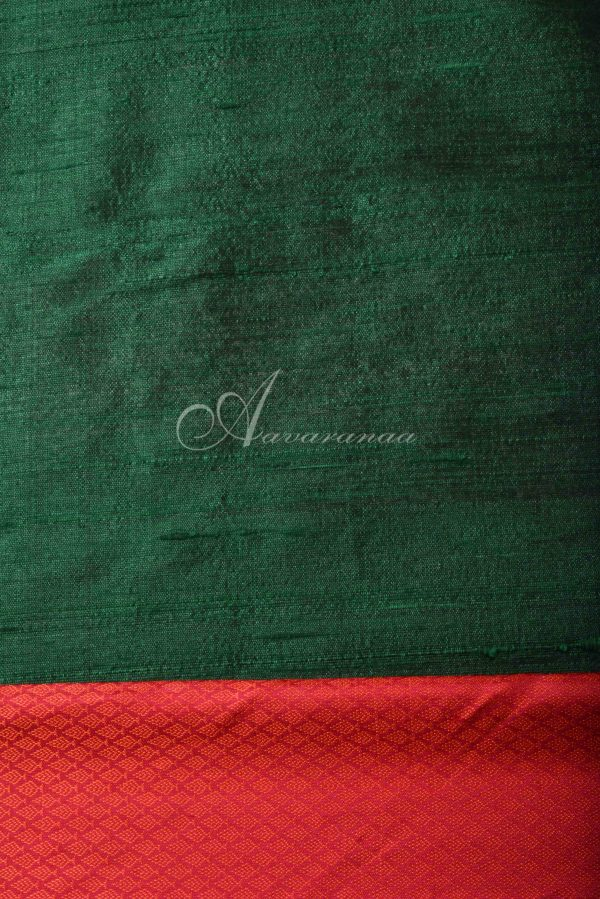 Bottle green chiffon checks kanchi silk fusion saree-16525
