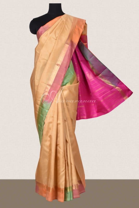Beige kancheepuram silk saree with multicolour border-0